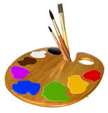 Palette, paints and brushes Royalty Free Stock Photo