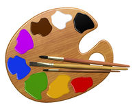 Palette, paints and brushes Stock Image