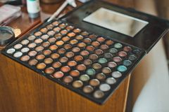 Palette with paints for a make-up 2348. Stock Photos