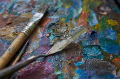 Palette and palette-knife Royalty Free Stock Photos