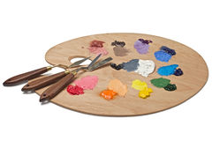 Palette With Palette Knives Stock Photos