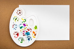 Palette with paper Royalty Free Stock Photography