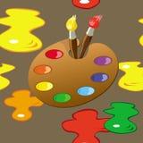 Palette, pinceaux et modèle sans couture de taches de peinture illustration libre de droits