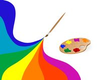Palette and rainbow Royalty Free Stock Images