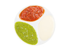 Palette of sauces. Isolated on white background Stock Photos