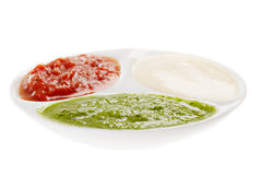 Palette of sauces. Isolated on white background Royalty Free Stock Photos