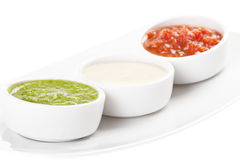 Palette of sauces. Isolated on white background Stock Images
