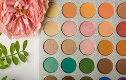 Palette with shadows, decorative cosmetic stock image