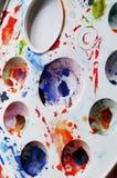 Palette souillée d'aquarelle Image libre de droits
