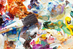 Palette with strokes of oil paints Stock Photo