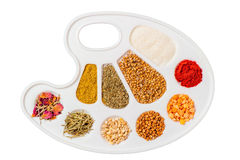 Palette  stuffed cereals and spices Stock Photos