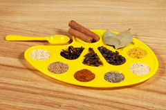 Palette of taste. With spices Stock Photos