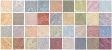 A palette of textures of colored travertine is a decorative covering for walls Stock Photos