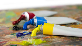 Palette and tubes of oil paint Stock Photo