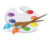 Palette und Malerpinsel Stockfotos