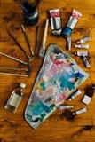Palette von Ölfarben Stockfotos