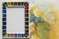 Palette on watercolor background Royalty Free Stock Photos