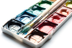Palette of watercolor paints. Stock Image