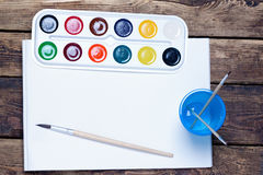 Palette of watercolor paints, brushes Royalty Free Stock Photo