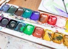 Palette of watercolor paints Stock Image