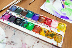 Palette of watercolor paints Royalty Free Stock Image