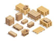 Paletten für Versand mit Pappe und isometrischem Artentwurfsvektor lizenzfreie abbildung