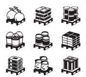 Palettes avec des matériaux de construction illustration libre de droits
