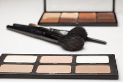 Palettes of contour shades and brushes. Two palettes of contour shades and brushes on a white background Stock Images