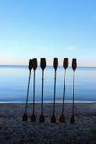 Palettes dans le sable Photographie stock