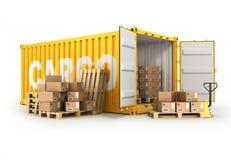 Palettes de récipient ouvert avec les boîtes et le camion de main illustration stock