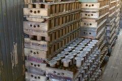 Palettes des bobines en bois Photos libres de droits