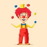 Palhaço de circo feliz Ilustração do vetor dos desenhos animados Fotografia de Stock Royalty Free