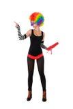 Palhaço engraçado na peruca colorida imagens de stock royalty free