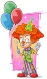 Palhaço feliz do ruivo dos desenhos animados com balões ilustração royalty free