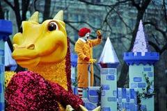 Palhaço no castelo na parada de Toronto Papai Noel Imagem de Stock