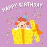Palhaço Popping Out From do aniversário uma caixa de presente do aniversário Vetor dos desenhos animados Foto de Stock Royalty Free