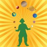 Palhaço que joga com planetas ilustração do vetor