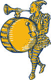 Palhaço With Trumpet e gravura a água-forte de marcha do cilindro ilustração do vetor
