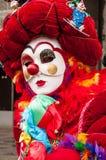 Palhaço vermelho branco Venice Mask imagens de stock