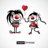 Palhaços do feliz aniversario com balões Fotografia de Stock