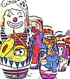 Palhaços e macacos de circo Foto de Stock Royalty Free
