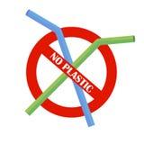 Palha bebendo plástica nenhum plástico Problema da poluição Protecção ambiental Diga não aos produtos plásticos Sinal de aviso Ve ilustração do vetor