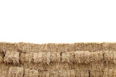 A palha, parede do cubo do bloco da palha, palha seca, feno da pilha da fileira isolou o fundo branco, palha para o estilo do vaq Imagens de Stock