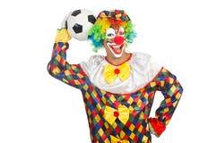 Palhaço com bola do futebol Foto de Stock