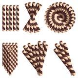 Palhas da bolacha do chocolate no grupo do estilo dos desenhos animados isolado no fundo branco Foto de Stock