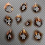 Palić dziury Przypieczona papierowa dziura, paląca brąz krawędź z płomieniem Ogień w krakingowym brudzi dziury, realistycz royalty ilustracja