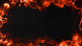 Palić płomienia ramowego abstrakt na odosobnionym rabatowym czarnym tle royalty ilustracja
