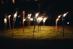 Palić pochodnie przy nocą w trawie z żółtymi płomieniami i głównymi atrakcjami zdjęcie stock
