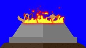 Palić Zmienia z Ludzkim poświęceniem na Błękitnym ekranie ilustracja wektor