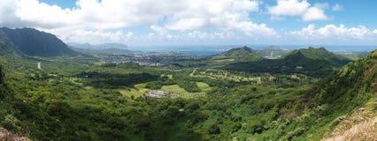 Pali Ausblick panoramisches Hawaii Stockbild